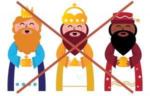 Caspar, Melchior and Balthazar follow the star of Bethlehem. Vector cartoon Illustration