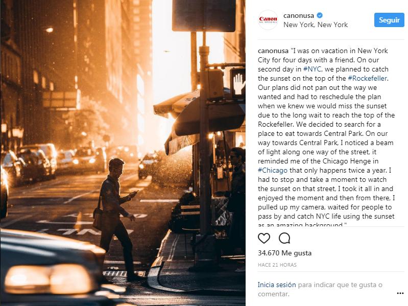 Perfil de Instagram de Canon