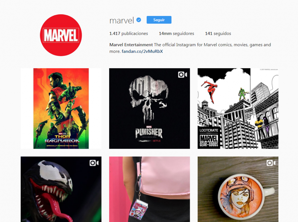 Cuenta de Instagram de Marvel