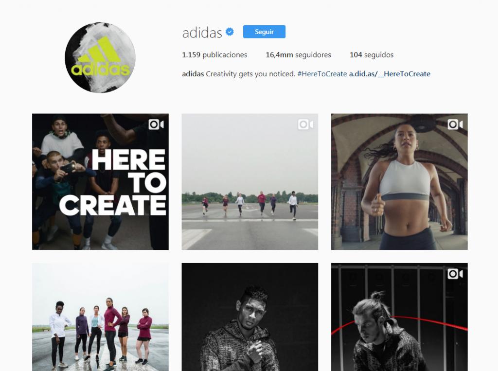 Perfil de Instagram de Adidas