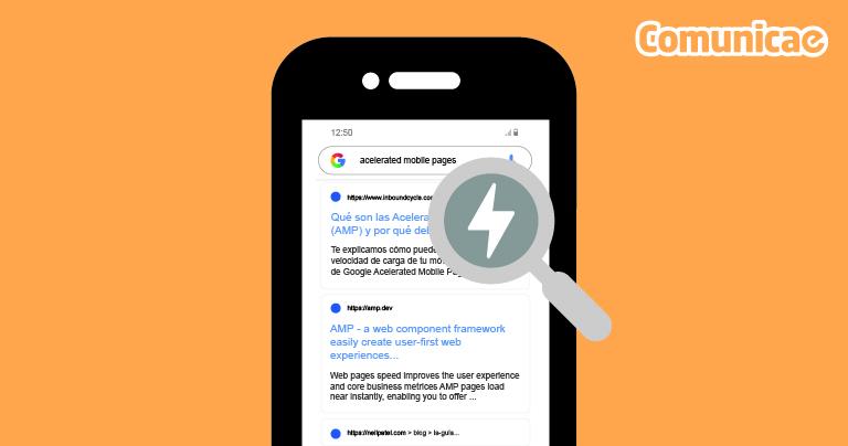 Accelerated mobile pages. Se puede ver la pantalla de un móvil con el símbolo de las AMP